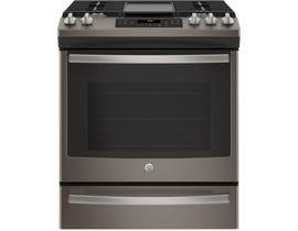 GE Appliances 5.6 Cu. Ft. Slide-In Front Control Gas Range in Premium Slate JCGS760EELES
