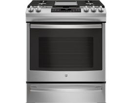 GE Appliances 5.6 Cu. Ft. Slide-In Front Control Gas Range in Premium Stainless Steel JCGS760SELSS