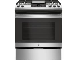 GE 30 inch 5.4 cu. ft. Slide-In Front Control Steam Clean Gas Range in Stainless Steel JCGSS66SELSS