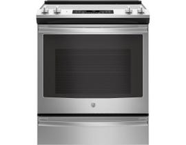 GE 30 inch 5.3 cu.ft. Slide-in Front Control Self Clean 4-Elements Electric Range in Stainless Steel JCS830SMSS