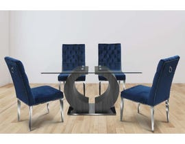 K-Living Jennifer Tempered Glass Top And Grey Veneer Leg With Chrome Base Dining Table With Tufted Velvet Chair in Blue REG324-BL
