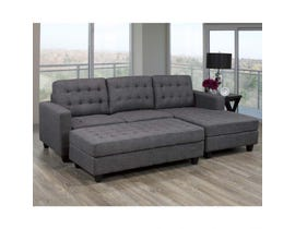 BRASSEX ANTONIO SECTIONAL with OTTOMAN GREY JF-1296