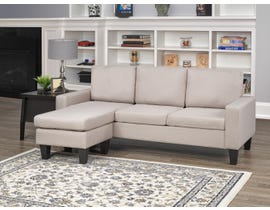 Brassex Hilton Sectional with Reversible Chaise in Beige JF1360-BEI