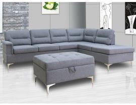 Primo International Jonni 2-pc sectional sofa set in grey w/Ottoman
