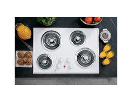 GE 30 inch Built-in 4-Elements Electric Cooktop in White JP328WKWW