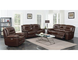 High Society Westchester Collection 3 Piece Leather Power Reclining Sofa Set in Chocolate UWC1312