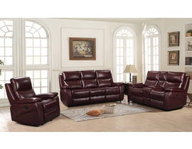 Amalfi Home Furniture 3Pc Leather Motion Reclining Sofa Set in Burgandy R8699