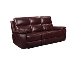 Amalfi Home Furniture Leather Motion Reclining Sofa in Burgandy R8699