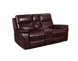Amalfi Home Furniture Leather Motion Reclining Loveseat w/Console in Burgandy R8699