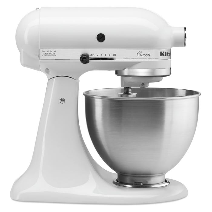 KitchenAid Classic Series 4.5-Quart Tilt-Head Stand Mixer in White K45SSWH