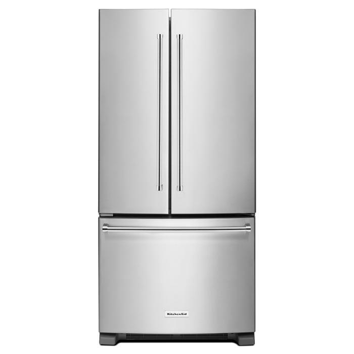 KitchenAid 33 inch 22 cu.ft French Door Bottom Mount Refrigerator in Stainless Steel KRFF302ESS