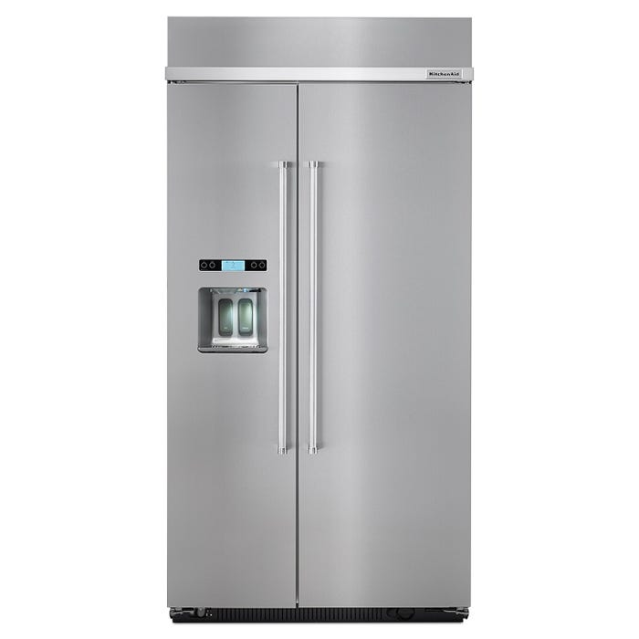 KitchenAid 25.5 Cu. Ft. 42 inch Built-In Side-by-Side Refrigerator KBSD602ESS