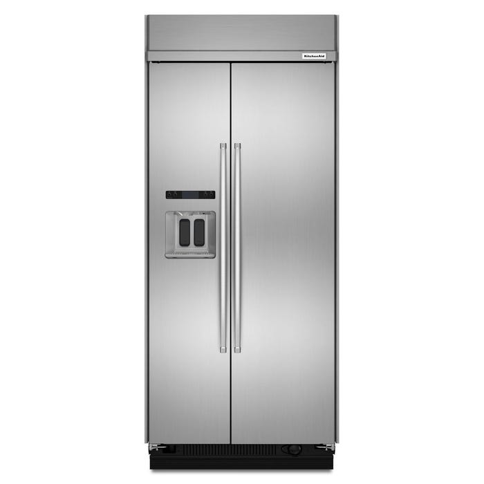 KitchenAid 36 Inch 20.8 cu.ft. Width Built-In Side-by-Side Refrigerator in stainless steel KBSD606ESS