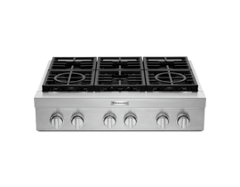 "KitchenAid 36"" 6-Burner Commercial-Style Gas Rangetop in Stainless Steel KCGC506JSS"