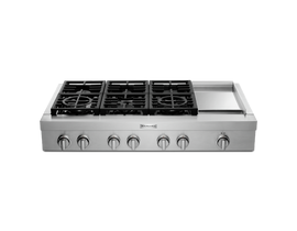 KitchenAid 48 inch 6-Burner Commercial-Style Gas Rangetop with Griddle in Stainless Steel KCGC558JSS