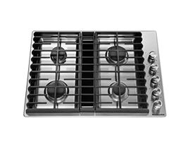 KitchenAid 30 inch 4 burner gas downdraft cooktop in stainless steel KCGD500GSS