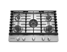 KitchenAid 30 inch 5 burner gas cooktop in stainless steel KCGS550ESS
