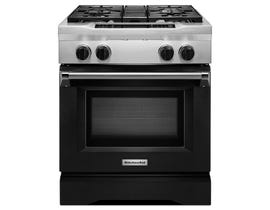 KitchenAid 30 inch 4.1 cu.ft. Dual Fuel Range 4 Burner Freestanding in Black KDRS407VBK