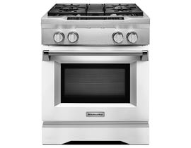 KitchenAid 30 inch 4.1 cu.ft. Dual Fuel Range 4 burner dual fuel freestanding in White KDRS407VMW