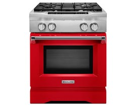 KitchenAid 30 inch 4.1cu.ft. Dual Fuel Range 4 burner freestanding in red KDRS407VSD