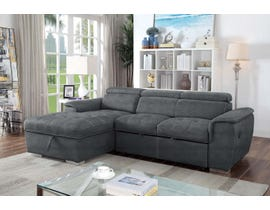Brassex Bentley Collection Fabric Sectional with Pull Out Bed & Storage Chaise in Grey KF6425DG