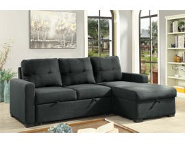 Brassex Boris Collection Fabric Sectional with Pull Out Bed & Storage Chaise in Grey KF6635