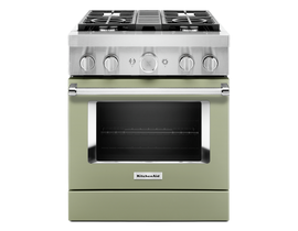 KitchenAid 30'' Smart Commercial-Style Dual Fuel Range with 4 Burners in Matte Avocado KFDC500JAV