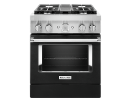 KitchenAid 30'' Smart Commercial-Style Dual Fuel Range with 4 Burners in Imperial Black KFDC500JBK