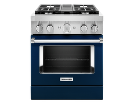 KitchenAid 30 inch 4.1 cu. ft. Smart Commercial-Style Dual Fuel Range with 4 Burners in Ink Blue KFDC500JIB