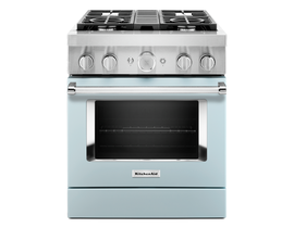 KitchenAid 30'' Smart Commercial-Style Dual Fuel Range with 4 Burners in Misty Blue KFDC500JMB