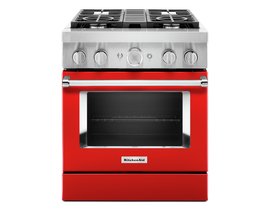 KitchenAid 30'' Smart Commercial-Style Dual Fuel Range with 4 Burners in Passion Red KFDC500JPA