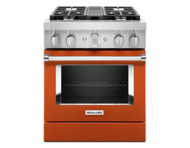 KitchenAid 30'' Smart Commercial-Style Dual Fuel Range with 4 Burners in Scorched Orange KFDC500JSC