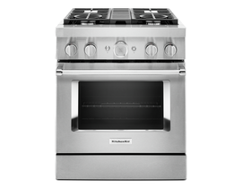 KitchenAid 30'' Smart Commercial-Style Dual Fuel Range with 4 Burners in Stainless Steel KFDC500JSS