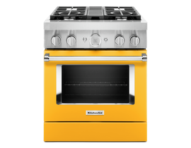 KitchenAid 30'' Smart Commercial-Style Dual Fuel Range with 4 Burners in Yellow Pepper KFDC500JYP