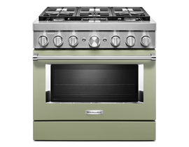 KitchenAid 36 inch 5.1 cu. ft. Smart Commercial-Style Dual Fuel Range with 6 Burners in Matte Avocado KFDC506JAV