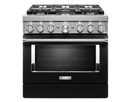 KitchenAid 36 inch 5.1 cu. ft. Smart Commercial-Style Dual Fuel Range with 6 Burners in Imperial Black KFDC506JBK