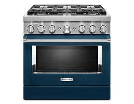KitchenAid 36'' Smart Commercial-Style Dual Fuel Range with 6 Burners in Ink Blue KFDC506JIB