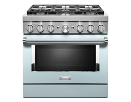 KitchenAid 36'' Smart Commercial-Style Dual Fuel Range with 6 Burners in Misty Blue KFDC506JMB