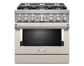 KitchenAid 36'' Smart Commercial-Style Dual Fuel Range with 6 Burners in Matte Milkshake KFDC506JMH
