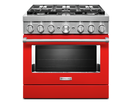 KitchenAid 36'' Smart Commercial-Style Dual Fuel Range with 6 Burners in Passion Red KFDC506JPA