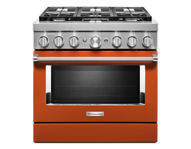 KitchenAid 36'' Smart Commercial-Style Dual Fuel Range with 6 Burners in Scorched Orange KFDC506JSC