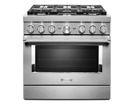 KitchenAid 36'' Smart Commercial-Style Dual Fuel Range with 6 Burners in Stainless Steel KFDC506JSS