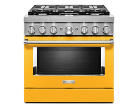 KitchenAid 36'' Smart Commercial-Style Dual Fuel Range with 6 Burners in Yellow Pepper KFDC506JYP