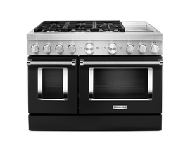 KitchenAid 48'' Smart Commercial-Style Dual Fuel Range with Griddle in Imperial Black KFDC558JBK