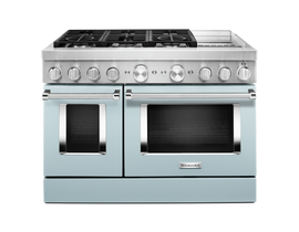 KitchenAid 48'' Smart Commercial-Style Dual Fuel Range with Griddle in Misty Blue KFDC558JMB