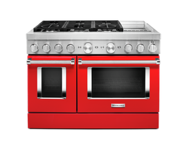 KitchenAid 48 inch 6.3 cu. ft. Smart Commercial-Style Dual Fuel Range with Griddle in Passion Red KFDC558JPA