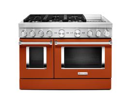 KitchenAid 48'' Smart Commercial-Style Dual Fuel Range with Griddle in Scorched Orange KFDC558JSC