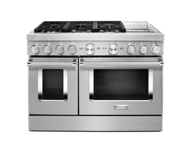 KitchenAid 48'' Smart Commercial-Style Dual Fuel Range with Griddle in Stainless Steel KFDC558JSS