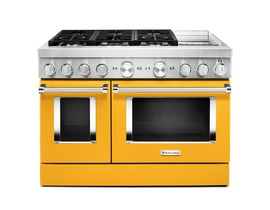 KitchenAid 48 inch 6.3 cu. ft. Smart Commercial-Style Dual Fuel Range with Griddle in Yellow Pepper KFDC558JYP