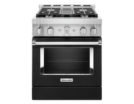KitchenAid 30 inch 4.1 cu. ft. Smart Commercial-Style Gas Range with 4 Burners in Imperial Black KFGC500JBK